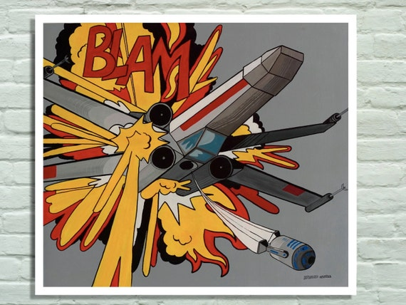 Print of my original painting, Star wars inspired, Parody of Roy Liechtenstein's Blam, with X-wing