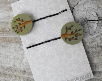 Bobby Pins - A pair (2) Hair Accessories - Hand Painted on Wood - Leafy Green Woodland Tree Branch Image