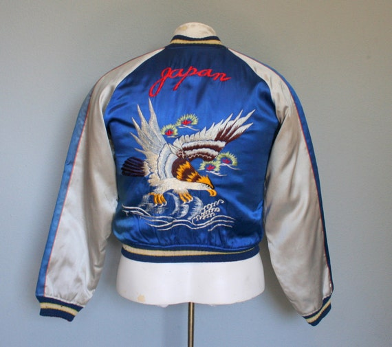 1950s Japanese Tour Jacket Reversible Embroidered Satin S