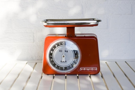 1960s Vintage German Red Kitchen Scales - Stube Weighs up to 10 Kilos