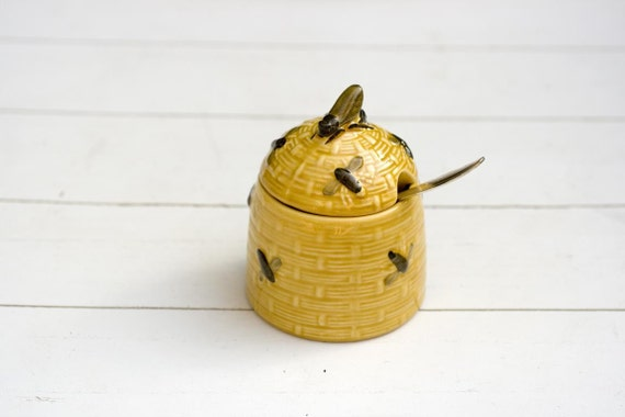 Vintage German Yellow Ceramic Bee Hive Honey Pot