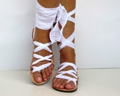 """Leather Sandals, handmade, Unique design with plisse scarf straps in white  """"APHRODITE"""" AS10 All sizes Available"""