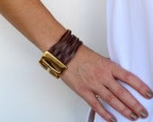 Leather Cuff, Bracelet available in 4 colors and 24k gold or silver plated closure. LC01 - Free standard shipping