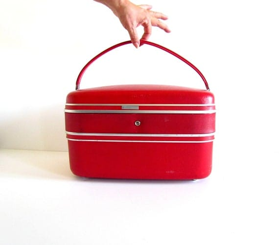 Reserved - Vintage Train Case - Hot Red Travel Case Luggage