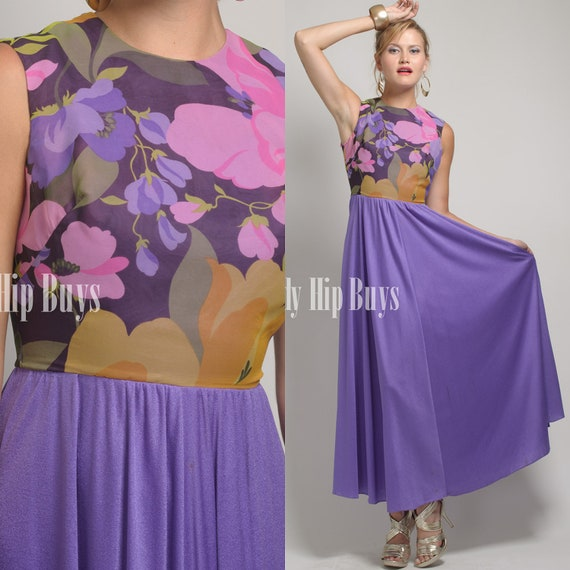 SALE - Vintage 70s Purple Floral Sleeveless A-line Disco Evening Maxi Dress - XXS