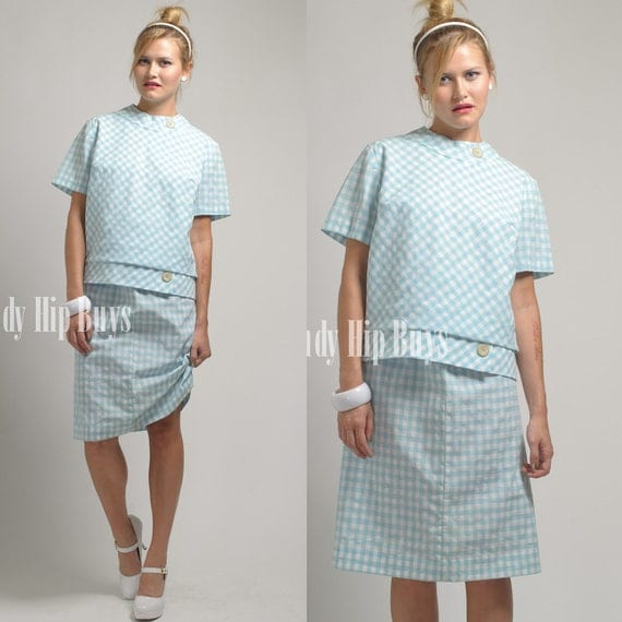 SALE - Vintage 60s Jackie O/Mad Men Style Blue White Gingham 2 piece Outfit - L