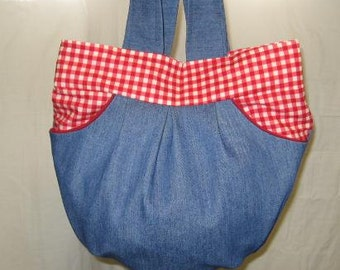 Bluejean Denim Purse with Red Gingham Lining