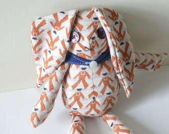Vintage Bunny Toy, Rust Orange Sailor Print, Gift For Kids, Nursery Decor
