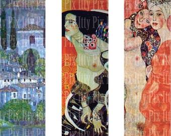 Klimt Digital Collage Sheet - 1 x 3 inch rectangle digital collage - microscope slide collage sheet - Instant Download