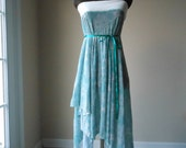 CUSTOM FOR RJ - Boho Shabby Chic Turquoise Dress Skirt Sheer Pixie Flower Print Tattered Bohemian Dress / Skirt