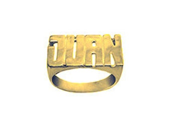 Name Ring 24K Gold Plated Sterling Silver Personalized Name Ring with Name of Your Choice Size 5 thru 12 Made in USA