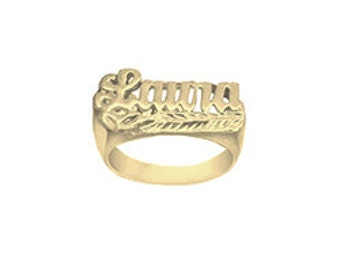 Name Ring 24K Gold Plated Sterling Silver Personalized Name Ring with Name of Your Choice Size 5 thru 10 Made in USA