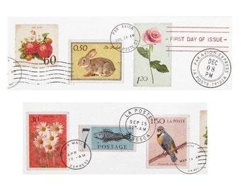MT Ex postage stamps wide washi tape sampler - 1 metre (3 ft)