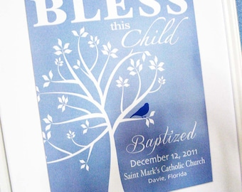 Christening Gift Baptism Gift Baby Boy Personalized Print Wall Art
