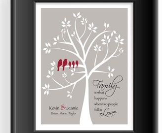 FAMILY TREE Wall Art - Personalized Gift for Family - Christmas Gift - Anniversary Gift - Housewarming Gift - Birthday Gift- Other colors
