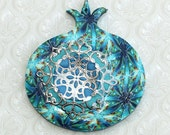 Wall decor Pomegranate, prosperity symbol, Polymer clay unique Pomegranate, pomegranate in blue and turquoise, rosh hashanah gift