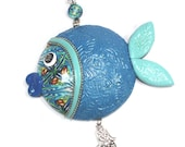 Unique fortune fish, wall decor fish, lucky fish, fish of fortune, Polymer clay handmade fish in blue, turquoise, green, Rosh Hashanah gift