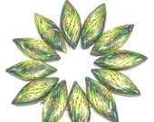 Polymer clay beads, prestigious beads, leaf shaped green beads, elegant beads, abstract pattern in greens, 12 Marquise beads
