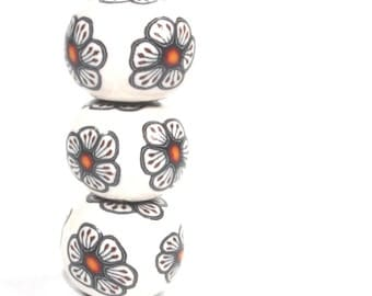 Polymer Clay rondelle beads in black, white, red and orange. Millefiori unique beads, Set of 3