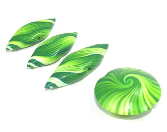 Leaf shaped and swirl Lentil Beads, Polymer Clay green mint stripes beads in greens and white, unique pattern, set of 4