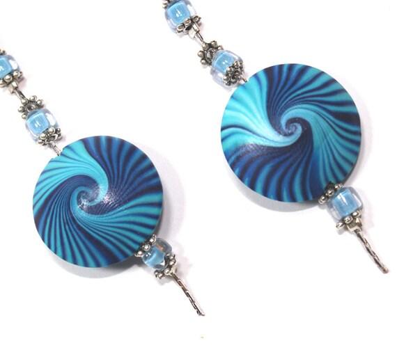 Elegant earrings, polymer clay earrings, Swirl Lentil earrings, blue and turquoise earrings.