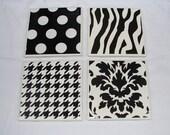 Set of 4 Black & White Ceramic Coasters