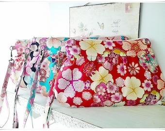 Japanese Pleated clutch, wristlet gathered purse, zip pouch Japanese kimono sakura cherry blossom 2 way
