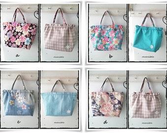 Reversible drawstring bag in japanese cotton chirimen