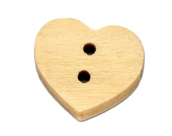 Wood Mini Heart Two Hole Lightly Lacquered Buttons for Sewing Knitting Crocheting Craft Jewelry Scrapbooking Art Clothes Pack of 20 14x12mm