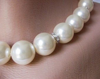 Bridal Pearl with rhinestone necklace and bracelet set