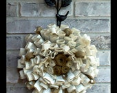 Burlap Accented Paper Wreath - Upcycled Wedding, Birthday or Anniversary Gift - Shabby Chic Eco Friendly Green Home Decor