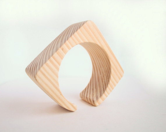 35 mm Wooden cuff unfinished square with break - natural eco friendly ma35c