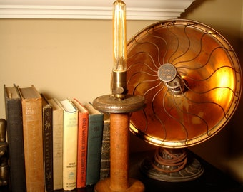 Minimalist Industrial Lighting Repurposed & Upcycled Vintage Textile Spool Table Lamp by Stonehill Design