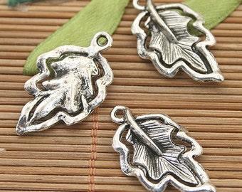 25pcs dark silver tone leaf charms h3152