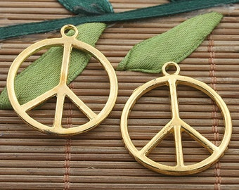 20pcs gold tone Peace sign charms h3352