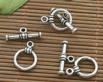 50sets dark silver tone toggle clasp h3513