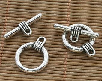 15sets dark silver tone toggle clasp h3520