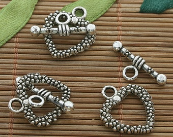 25sets dark silver tone heart design toggle clasp h3528