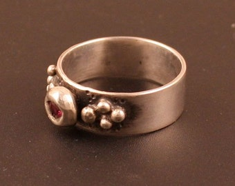 Sterling Silver Ruby Handmade Artisan Metalwork Ring