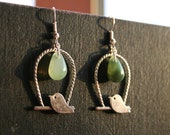Bird and bead Earrings.