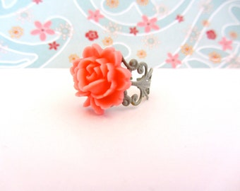 Pink Flower Ring, Pink and Green Enamel Adjustable Ring, Filagree Ring, Flower Ring, Pink and Green