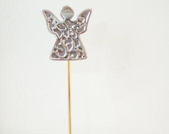 Silver angel sculpture, carved aluminum small sculpture of an agel on a tall, brass stem, angel art object, silver angel gift, small angel