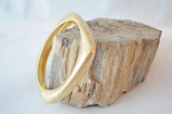 Solid brass bangle , gold plated square  bracelet, made to order