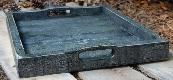 SALE...Black Serving Tray from Reclaimed Wood