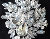 "Striking large Swarovski crystal wedding bridal rhinestone - 4.10"" x 3.75""- brooch, hair comb, fascinator adornment"