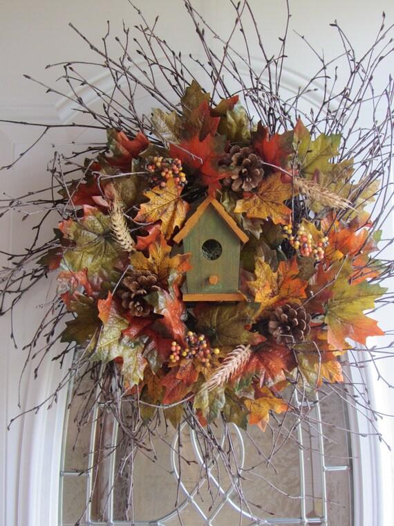 Fall Wreath, Autumn Wreath, Birdhouse Wreath,  Door Wreath, Wreath