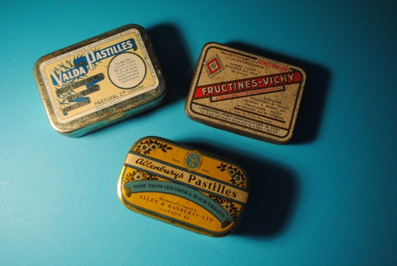trio of three small tins  FRENCH wonderful for display, collections, altered art, found objects advertizing tins