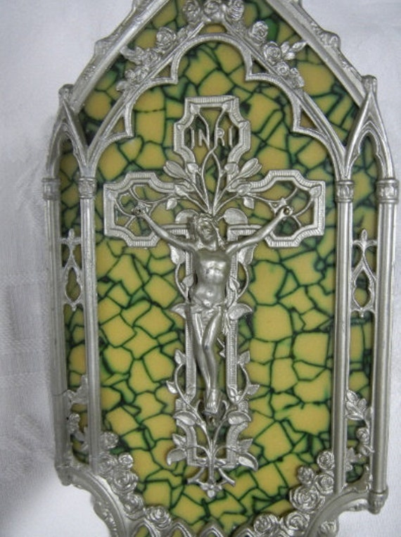 Crucifix Holy Water Font, Stained Glass Effect in Background - Vintage (1940s)