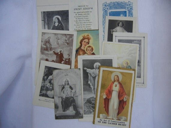 Vintage Prayer Cards, Holy Cards, 1920s - 1950s