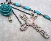 Cross Assemblage Necklace - Vintage Cross - Turquoise - Long Necklace